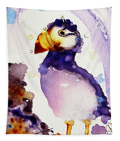 Purple Puffin Tapestry
