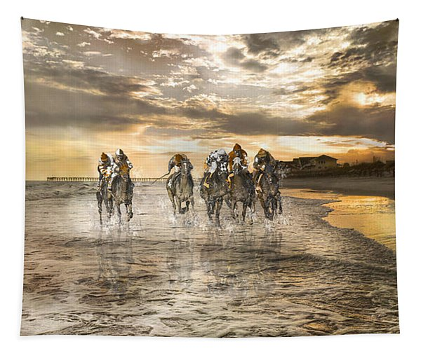 Racing Down The Stretch Tapestry