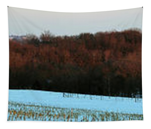 Red Barn In Winter After A Fresh Tapestry