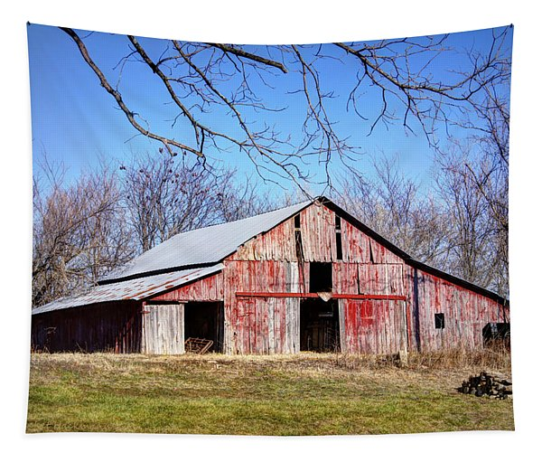 Red Barn On The Hill Tapestry