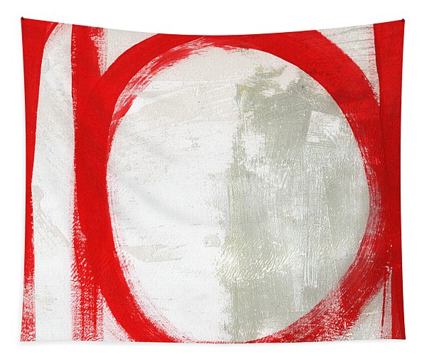 Red Circle 3- Abstract Painting Tapestry