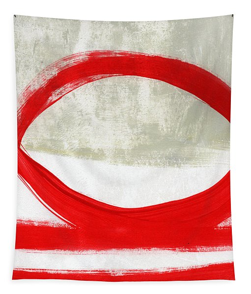 Red Circle 4- Abstract Painting Tapestry
