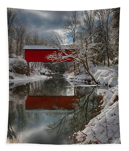 reflection of Slaughterhouse covered bridge Tapestry