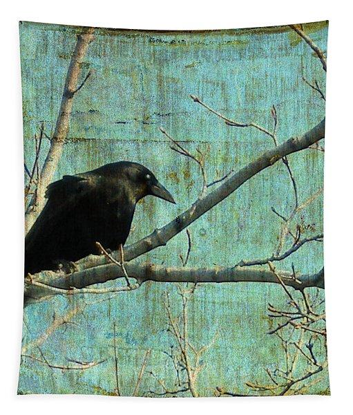 Retro Blue - Crow Tapestry
