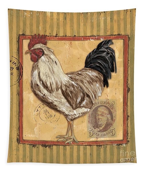 Rooster And Stripes Tapestry