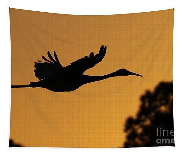 Sandhill Crane In Flight Tapestry