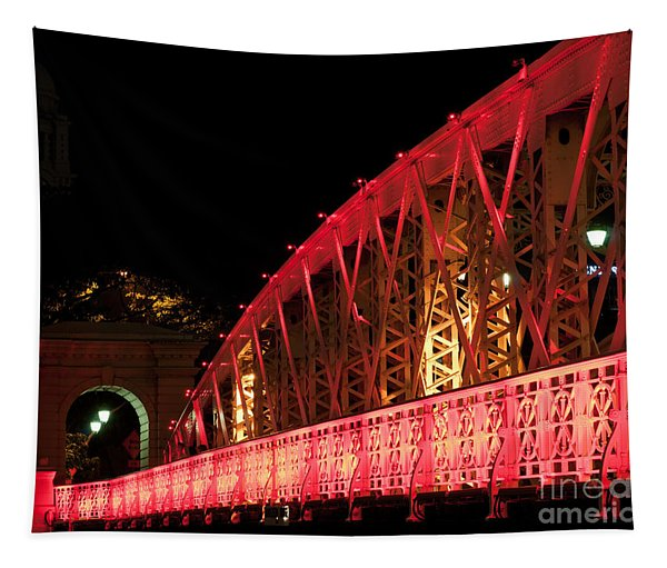 Singapore Anderson Bridge At Night Tapestry