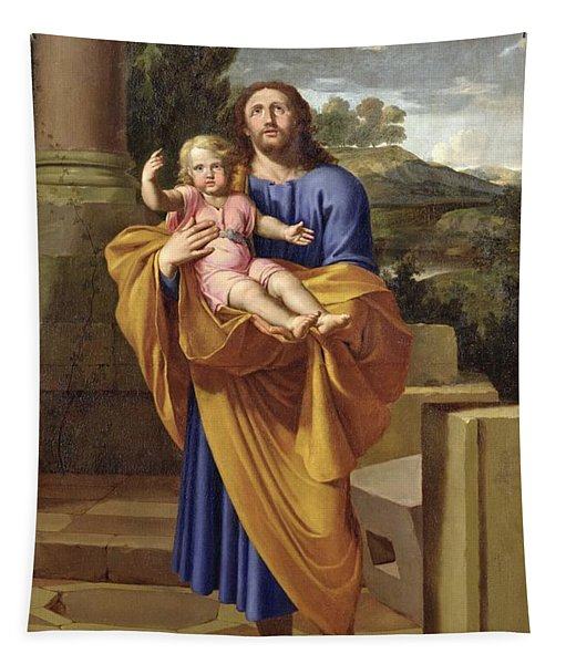 St. Joseph Carrying The Infant Jesus Tapestry