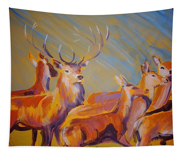 Stag And Deer Painting Tapestry
