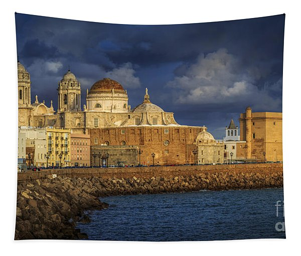 Stormy Skies Over The Cathedral Cadiz Spain Tapestry