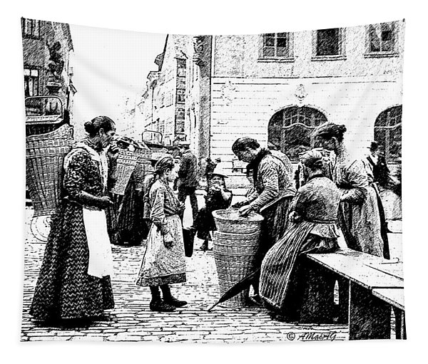 Street Market Coburg Germany 1903 Digital Etching Tapestry