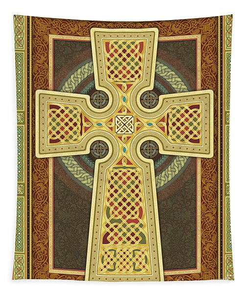 Stylized Celtic Cross Tapestry