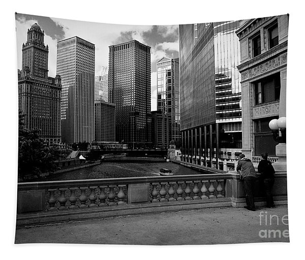 Summer On The Chicago River - Black And White Tapestry