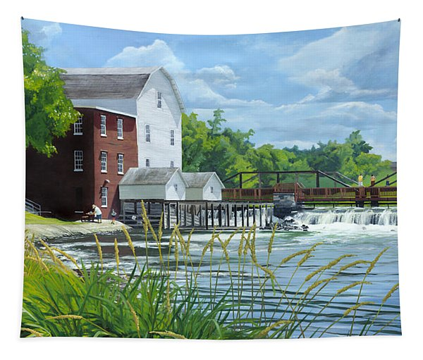 Summertime At The Old Mill Tapestry