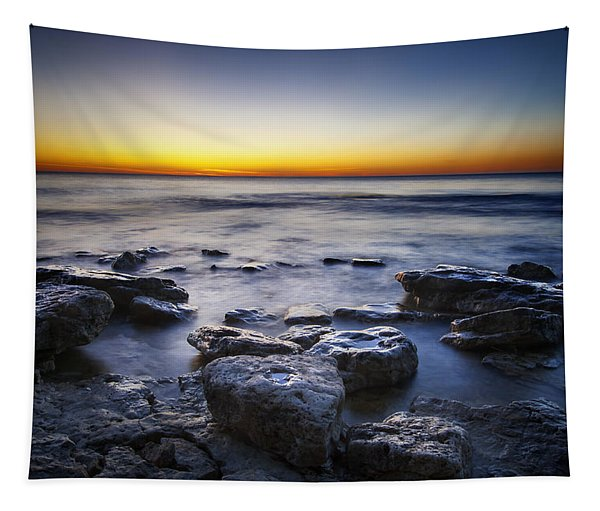 Sunrise At Cave Point Tapestry