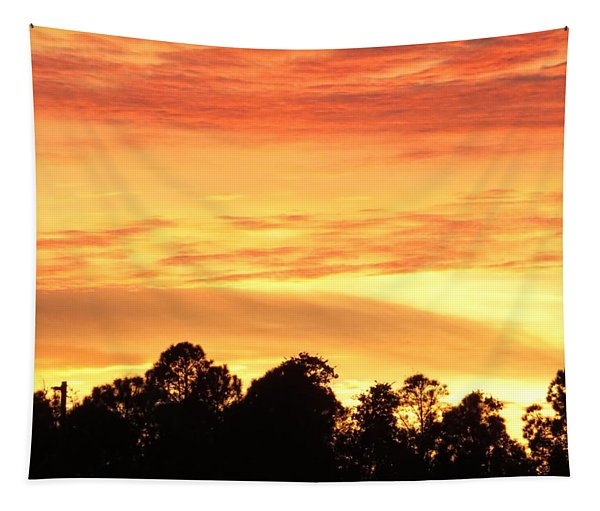 Sunset And Beautiful Clouds Tapestry