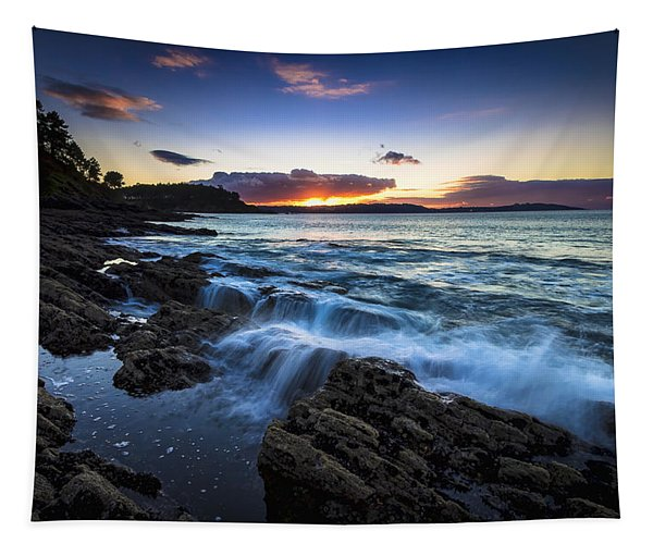 Sunset On Ber Beach Galicia Spain Tapestry