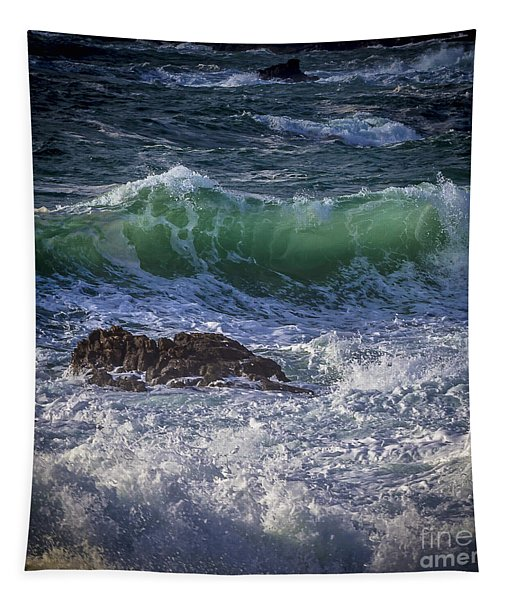 Swells In Doninos Beach Galicia Spain Tapestry