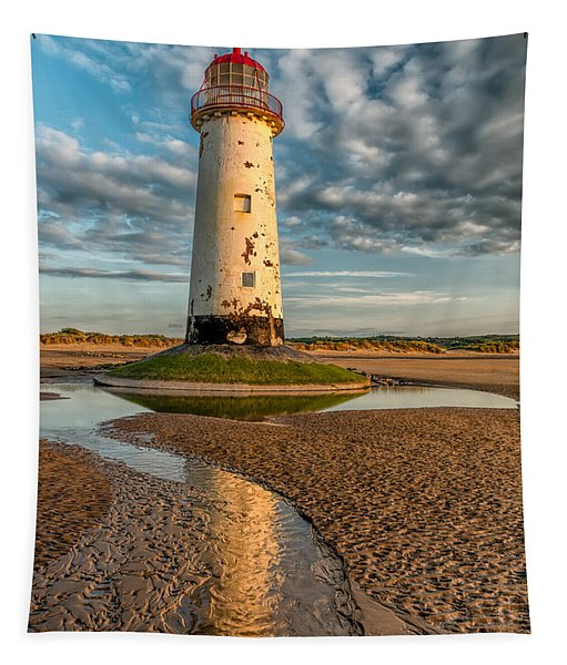 Talacre Lighthouse Sunset Tapestry