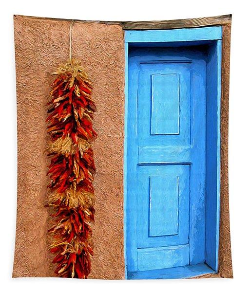 Taos Blue Door Tapestry
