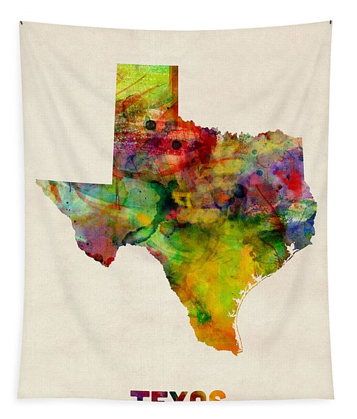 Texas Watercolor Map Tapestry