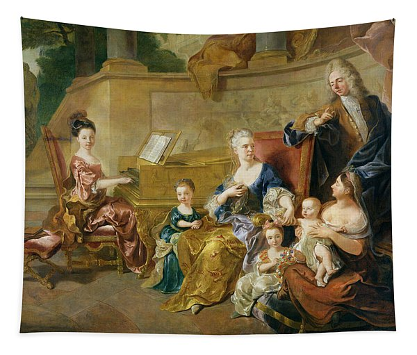 The Franqueville Family, 1711 Oil On Canvas Tapestry