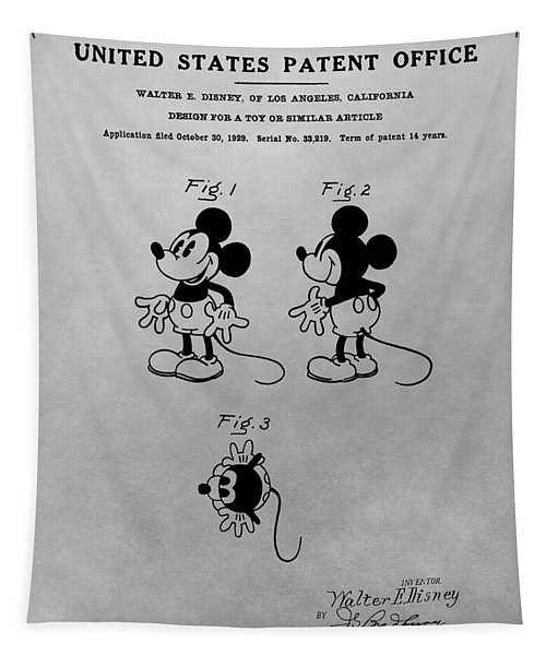 The Original Mickey Mouse Patent Design Tapestry