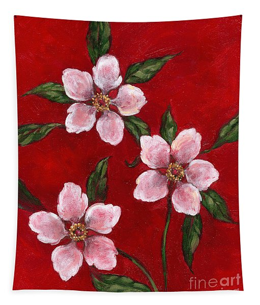 Three Blossoms On Red Tapestry