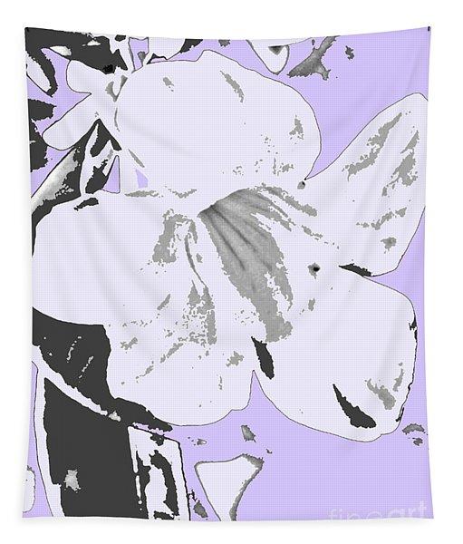 Tropical Floral Violet Black Tapestry