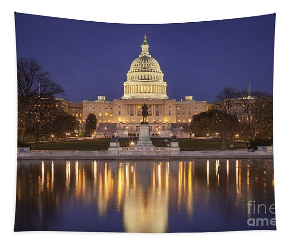 Twilight At Us Capitol Tapestry
