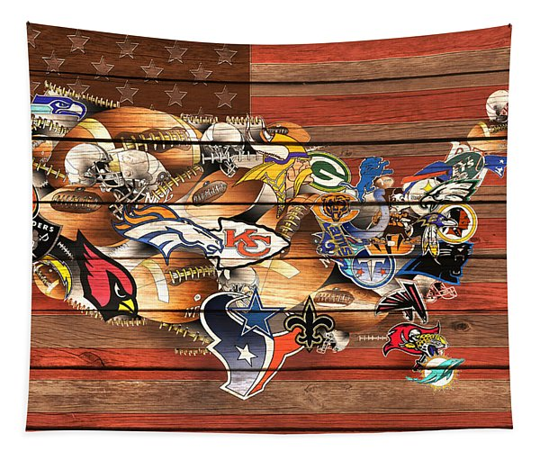 Usa Nfl Map Collage 10 Tapestry