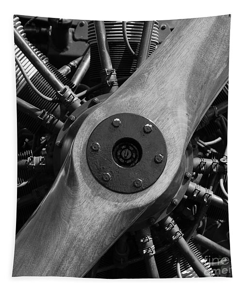 Vintage Wood Propeller - 7d15828 - Square - Black And White Tapestry