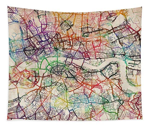 Watercolour Map Of London Tapestry