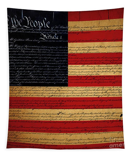We The People - The Us Constitution With Flag - Square Tapestry