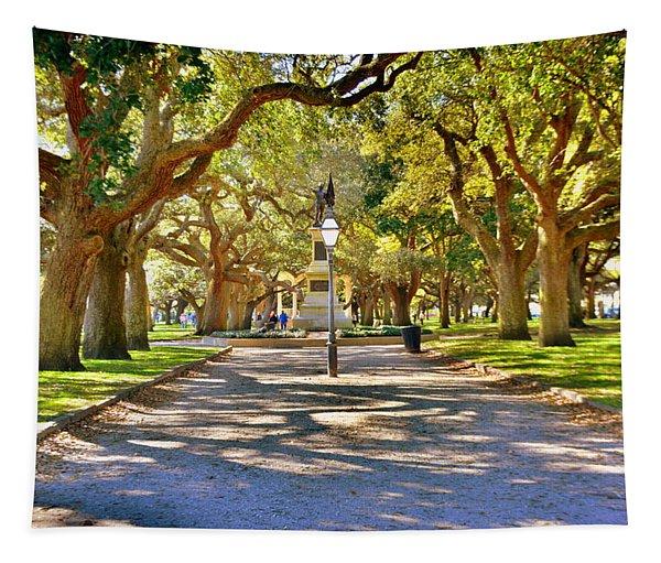 White Point Gardens At Battery Park Charleston Sc Hdr Tapestry