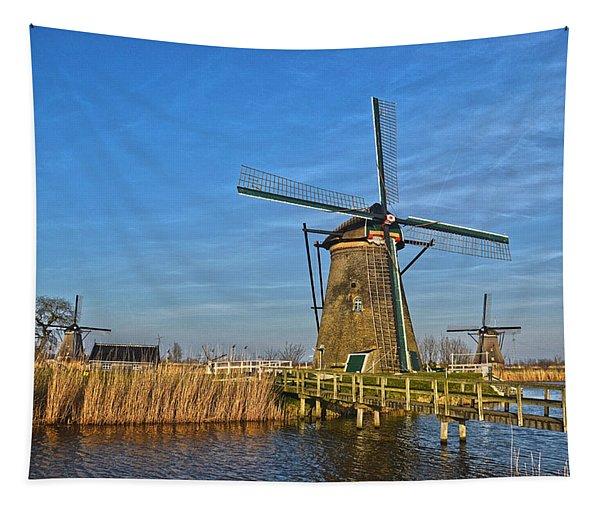 Windmills And Bridge Near Kinderdijk Tapestry