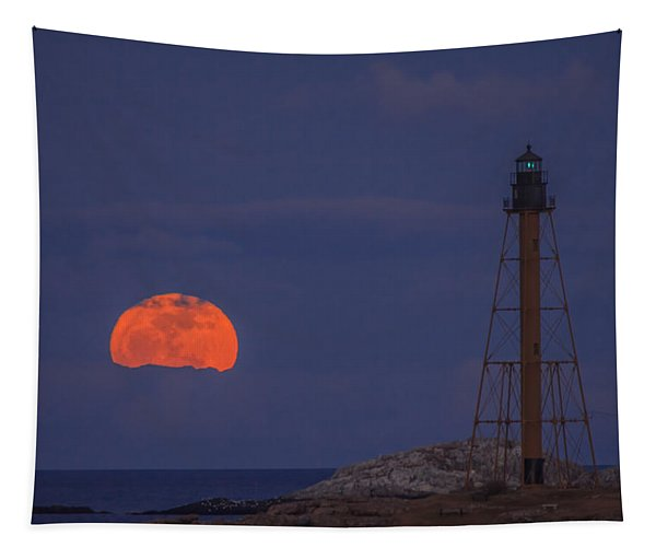 Winter Moon Rising Over Marblehead Light Tapestry