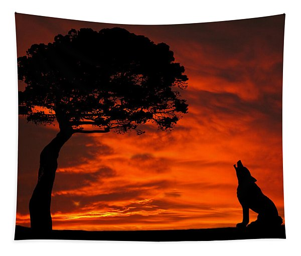 Wolf Calling For Mate Sunset Silhouette Series Tapestry