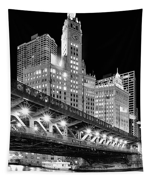 Wrigley Building At Night In Black And White Tapestry