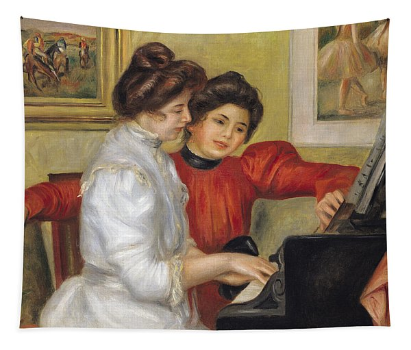 Yvonne And Christine Lerolle At The Piano Tapestry