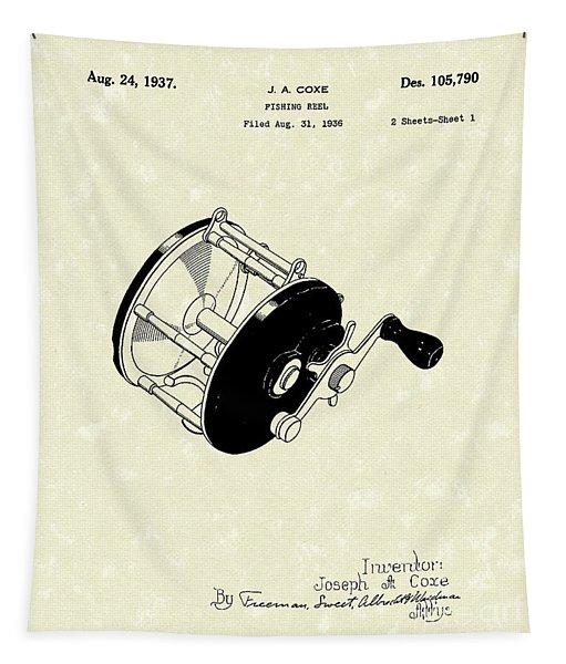 Fishing Reel 1937 Patent Art Tapestry