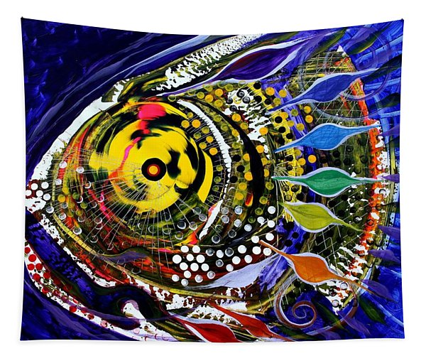Abstract Busy Bee Fish Tapestry