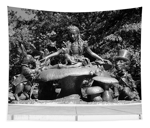 Alice In Wonderland In Central Park In Black And White Tapestry