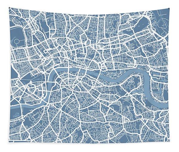 London Map Art Steel Blue Tapestry
