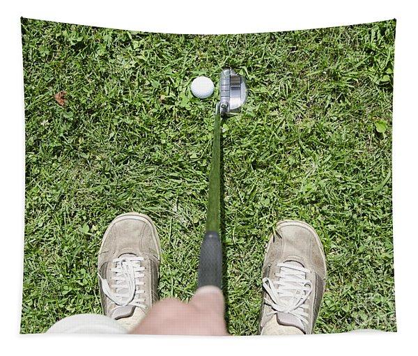 Man Playing Golf Tapestry