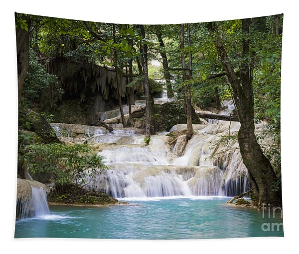 Waterfall In Deep Forest Tapestry