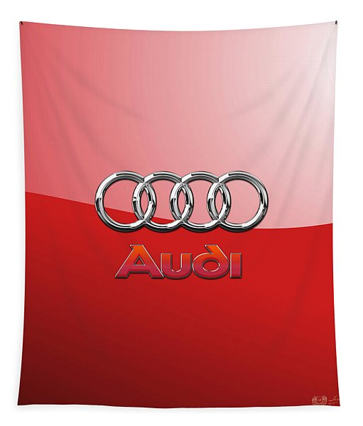 Audi - 3d Badge On Red Tapestry