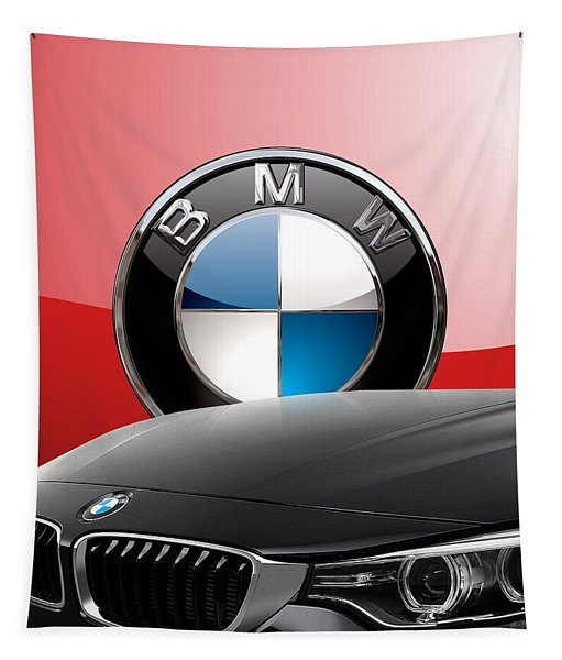 Black B M W - Front Grill Ornament And 3 D Badge On Red Tapestry
