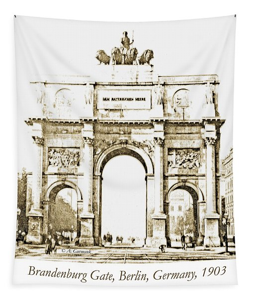 Brandenburg Gate, Berlin Germany, 1903, Vintage Image Tapestry