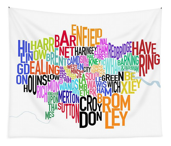 London Uk Text Map Tapestry